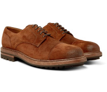 Cap-Toe Burnished-Suede Derby Shoes