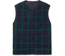 Slim-Fit Reversible Checked Twill and Quilted Shell Gilet