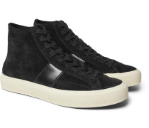 Cambridge Leather-trimmed Suede High-top Sneakers - Black