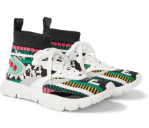 Valentino Garavani Heroes Tribe 3 Leather-trimmed Stretch-knit Sneakers