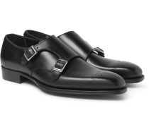 + George Cleverley Mark Leather Monk-strap Shoes - Black