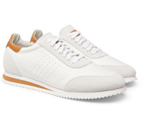 Leather And Suede Sneakers - White
