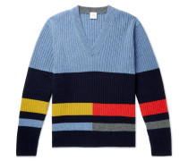 Ribbed Striped Lambswool Sweater