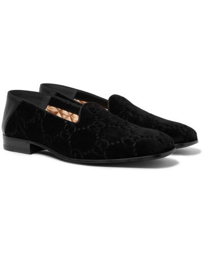 Collapsible-heel Leather-trimmed Logo-embroidered Velvet Loafers - Black