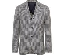 Navy Houndstooth Wool, Linen and Silk-Blend Blazer