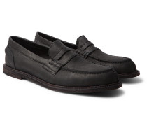 Split-toe Distressed Leather Penny Loafers