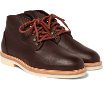 Aspen Walk Shearling-lined Full-grain Leather Boots - Chocolate