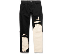 Slim-Fit Distressed Layered Denim Jeans