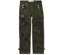 Logo-Embellished Camouflage-Print Cotton-Twill Cargo Trousers