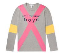 Slim-Fit Logo-Print Colour-Block Mélange Cotton-Jersey T-Shirt