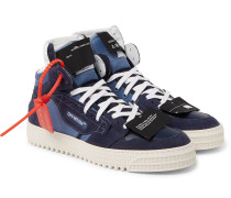 3.0 Off-court Suede, Leather And Canvas High-top Sneakers - Blue