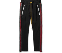 Traxedo Tapered Cropped Webbing-Trimmed Satin-Jersey Drawstring Trousers