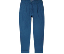 Tapered Pleated Slub Cotton And Linen-blend Trousers