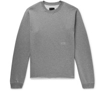 Distressed Printed Mélange Fleece-back Cotton-blend Jersey Sweatshirt - Gray