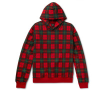 Oversized Black Watch Checked Loopback Cotton-jersey Hoodie