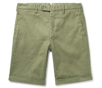 Chase Stretch Linen And Cotton-blend Shorts - Sage green