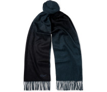 Reversible Logo-embroidered Fringed Cashmere Scarf