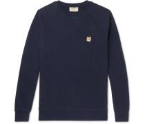 Appliquéd Loopback Cotton-jersey Sweatshirt - Navy