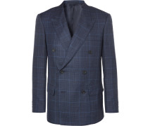 Harry's Navy Double-breasted Checked Wool, Silk And Linen-blend Suit Jacket