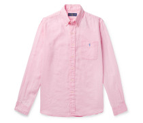 Button-down Collar Linen Shirt - Pink
