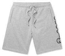 Logo-print Loopback Cotton-jersey Shorts - Gray