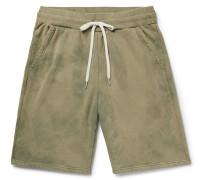 Tie-dyed Loopback Cotton-jersey Drawstring Shorts - Sage green