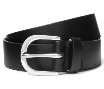 3cm Black Leather Belt - Black