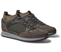 Radial Runner Neoprene and Leather-Trimmed Suede and Mesh Sneakers