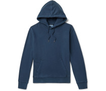 Garment-dyed Loopback Cotton-jersey Hoodie - Blue