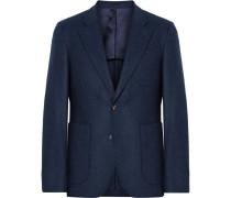 Midnight-blue Havre Slim-fit Wool-flannel Blazer