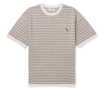Striped Knitted Cotton And Cashmere-blend T-shirt - Neutral