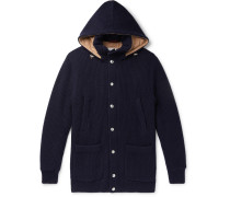 Padded Ribbed Cashmere Hooded Cardigan