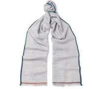 Fringed Contrast-trimmed Cashmere, Silk And Hemp-blend Scarf