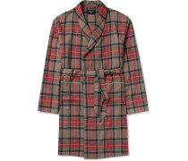Contrast-tipped Checked Wool Coat