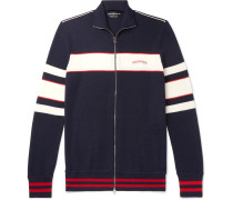 Striped Wool, Silk And Cashmere-blend Track Jacket