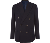Midnight-blue Double-breasted Wool-twill Blazer