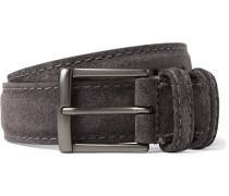 3.5cm Dark-grey Suede Belt