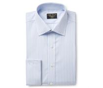 Light-Blue Slim-Fit Double-Cuff Striped Cotton-Poplin Shirt