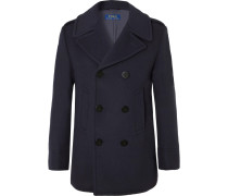 Double-breasted Wool-blend Felt Peacoat - Navy