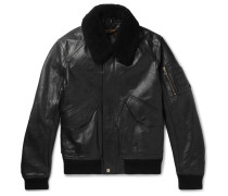 Arne Shearling-trimmed Leather Bomber Jacket - Black