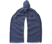 Cashmere And Cotton-blend Scarf - Navy