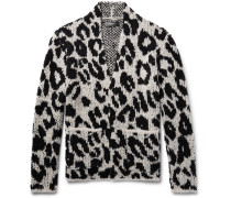 Snow Leopard Bouclé-knit Wool-blend Cardigan