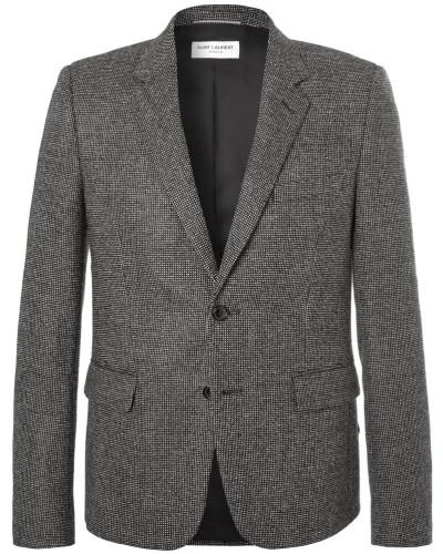 Slim-fit Basketweave Wool Suit Jacket - Gray