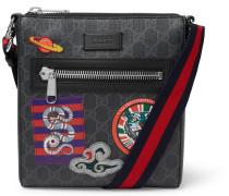 Night Courrier Leather-trimmed Appliquéd Monogrammed Coated-canvas Messenger Bag - Black