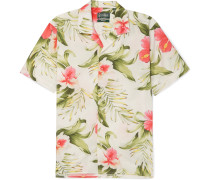 Camp-collar Printed Cotton-poplin Shirt - Off-white