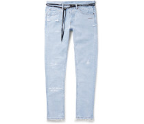 Slim-fit Embroidered Distressed Denim Jeans - Light denim