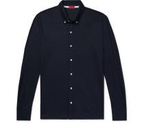 Slim-fit Button-down Collar Wool-piqué Shirt - Blue