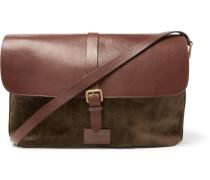 Suede And Full-grain Leather Messenger Bag