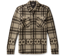 Checked Wool And Cashmere-blend Overshirt - Beige
