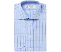 Light-blue Slim-fit Cutaway-collar Checked Cotton-poplin Shirt - Blue